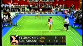 """Final Uber Cup 1996 in Hongkong: """"Susi Susanti VS Ye Zhaoying"""" - Set 2 & 3 @ Star Sports 1996"""