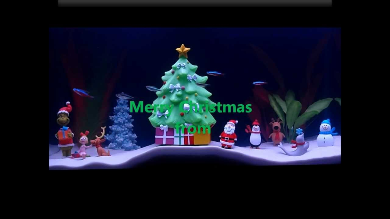 christmas aquarium tank holiday makeover xmas fish - Christmas Fish Tank Decorations