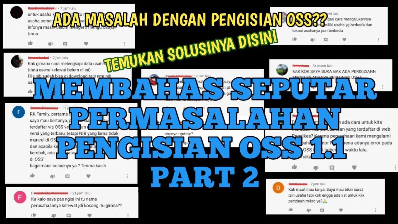 MEMBAHAS PERMASALAHAN SEPUTAR PENGISIAN OSS 1.1 PART 2