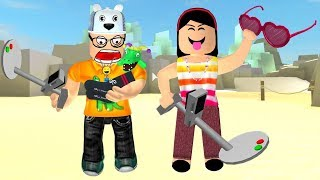 ROBLOX: MY MOTHER AND I IN: THE FIRST TO FIND THE TREASURE ON THE BEACH, WINS! -Play Old man