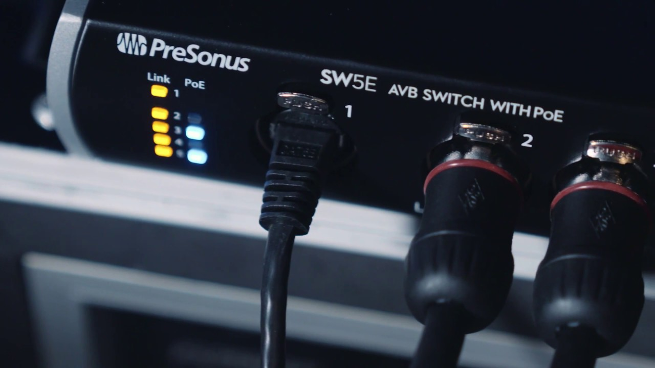 the presonus sw5e avb switch fully complies to the avb standard while providing power over ethernet poe to devices that can take advantage of it  [ 1280 x 720 Pixel ]
