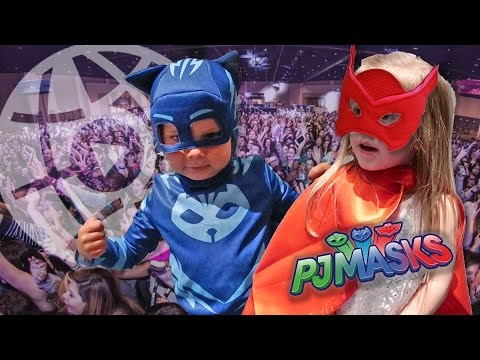 PJ MASKS AT PLAYLIST! CATBOY AND OWLETTE DRESS UP AND FIGHT CRIME IN REAL LIFE!