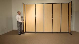 Versare Straightwall Sliding Room Divider In Wood Grain Laminate