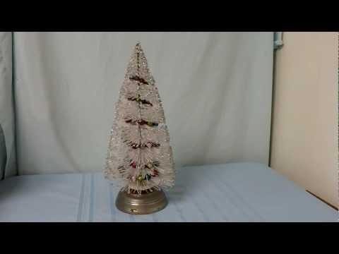 1949 Musical Bottle Brush Christmas Tree Decoration plays Silent Night