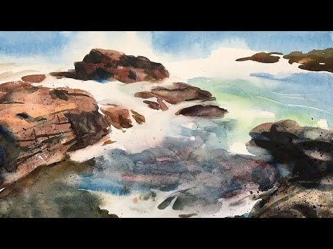 Watercolor landscape painting of an emotional seashore