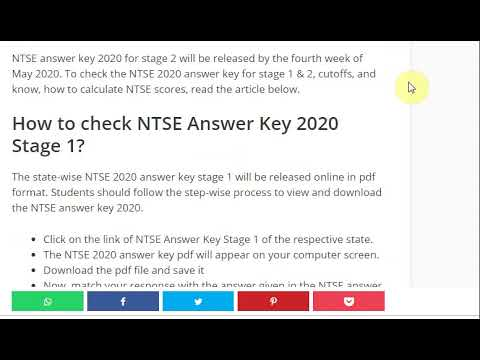 NTSE Stage 1 Answer Key 2019 Released @allen.ac.in and resonance