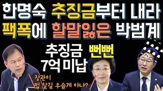 팩폭에 할말잃은 박범계 : 한명숙 추징금 7억 미납!