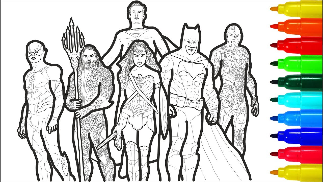 Justice League 2 Coloring Pages Coloring Pages With Colored Markers Coloring Pages Youtube
