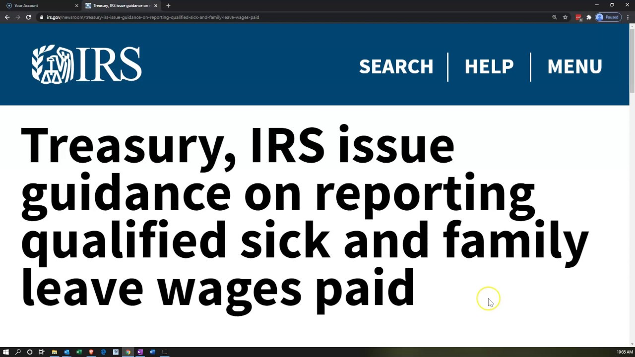 Treasury, IRS issue guidance on reporting qualified sick and family leave wages paid