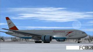 FS2004 - Landing at Vienna Schwechtat airport (LOWW) with Posky B777 200 Austrian Airlines