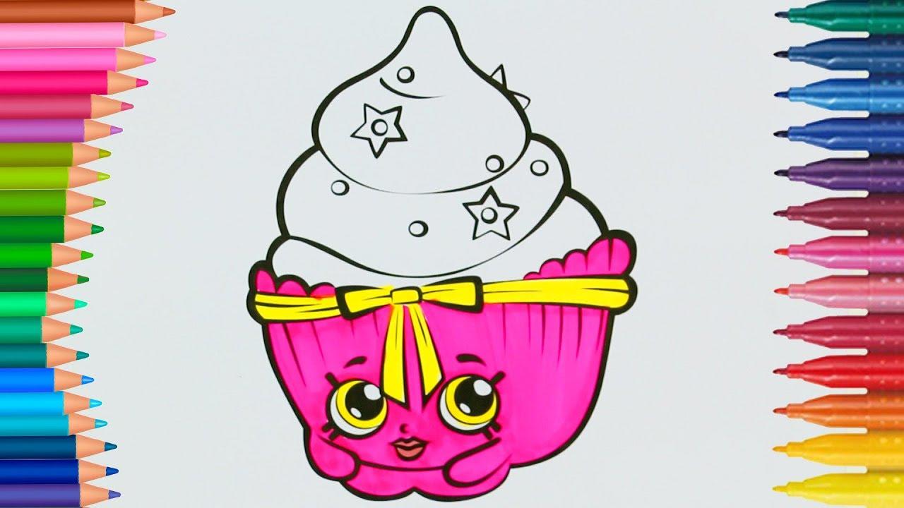 Shopkins Cicibiciler Cupcake çizgi Film Karakteri Boyama Sayfası