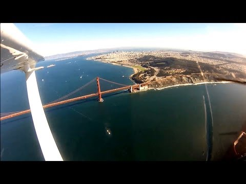 Fly Over Golden Gate,  Alcatraz, downtown San Francisco
