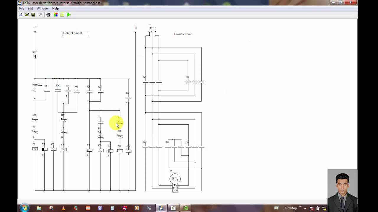 three phase motor control circuit star delta forward reverse circuit automatic  [ 1280 x 720 Pixel ]