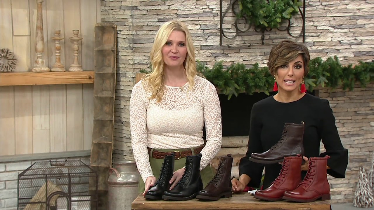 b2f783bf8 Frye Leather Lace-up Boots - Veronica Combat on QVC - YouTube