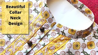 Collar Kurti Front Neck Design with Placket Cutting and Stitching | Neck Design