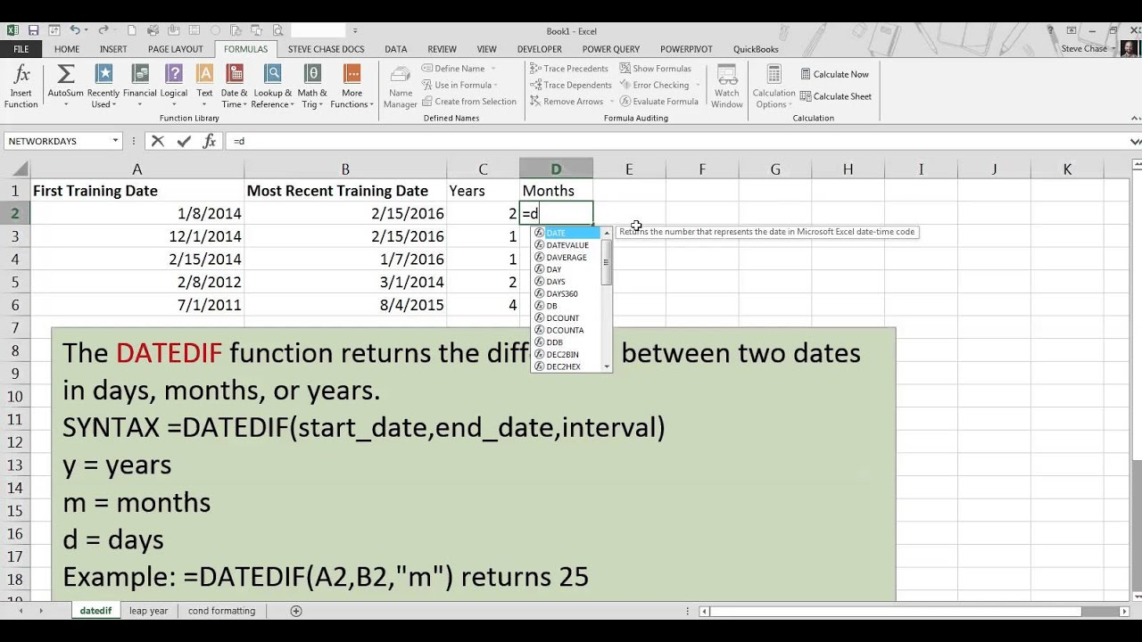Excel DATEDIF Function