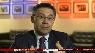 Fc barcelona president josep maria bartomeu talks to bbc sports editor dan roan ahead of the uefa champions league tie at arsenal. about threat ...
