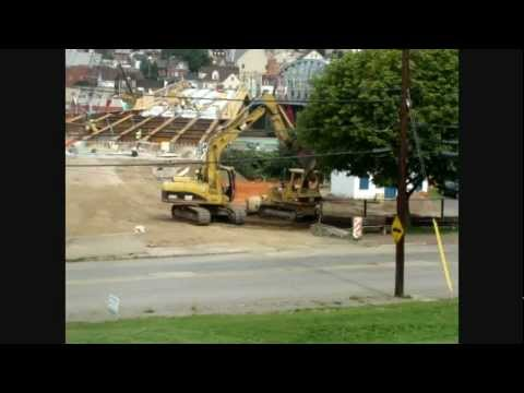 Pouring cement supports for Johnstown Pa bridge