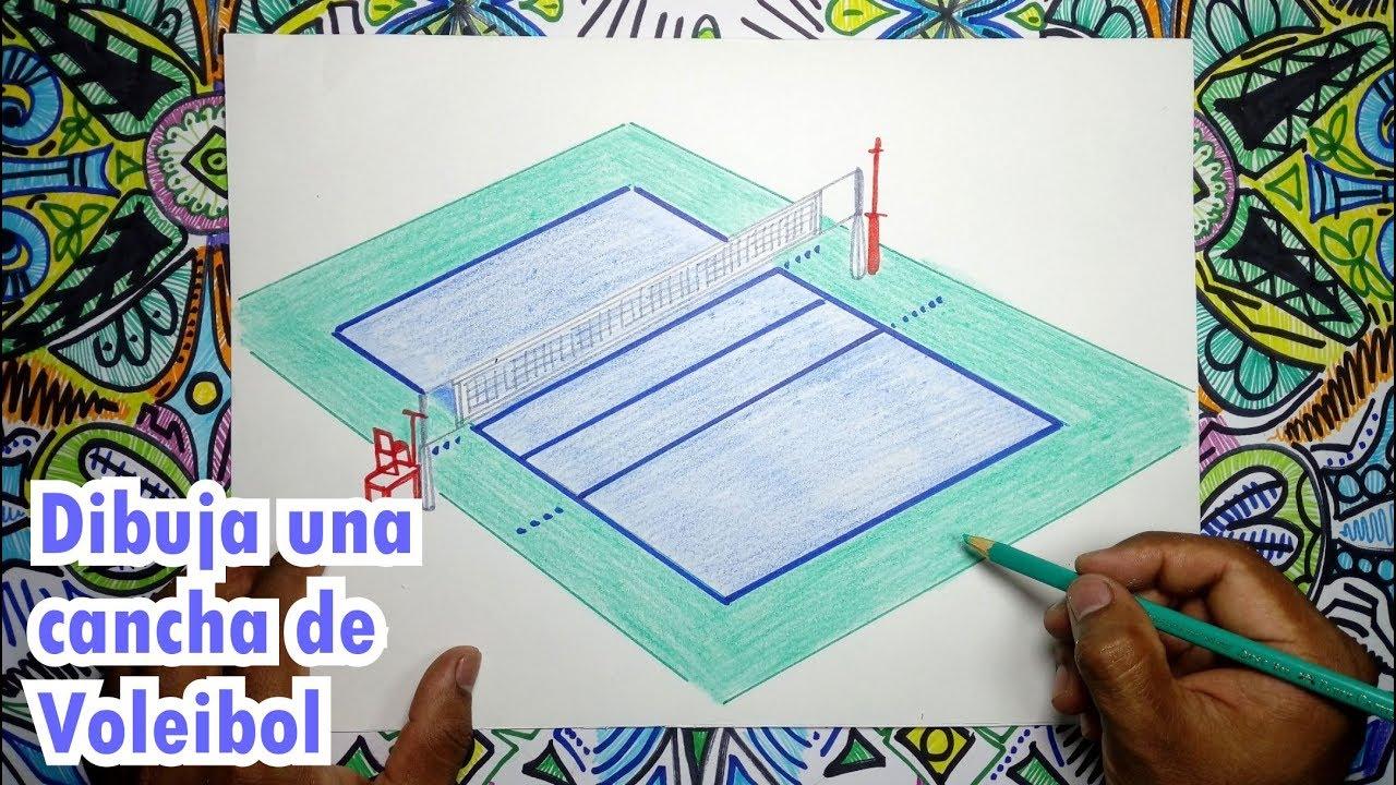 Cómo Dibujar Una Cancha De Voleibol Youtube