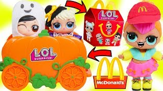 LOL Surprise Dolls + Lil Sisters Drive Thru for McDonalds Happy Meal Lunch and Vending Machine