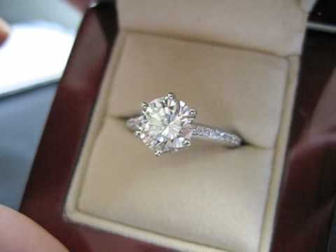 170 Ct RBC 6 Prong Platinum Micro Pave Engagement Ring