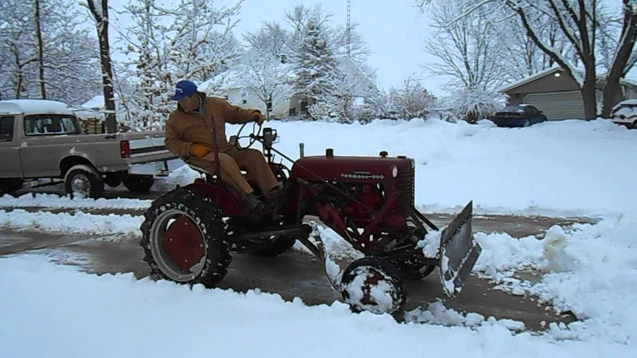 plowing snow with 55 farmall cub