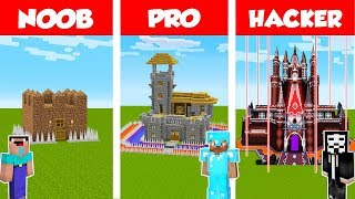 Minecraft Noob Vs Pro Vs Hacker Safest Castle Base Challenge In Minecraft  Animation