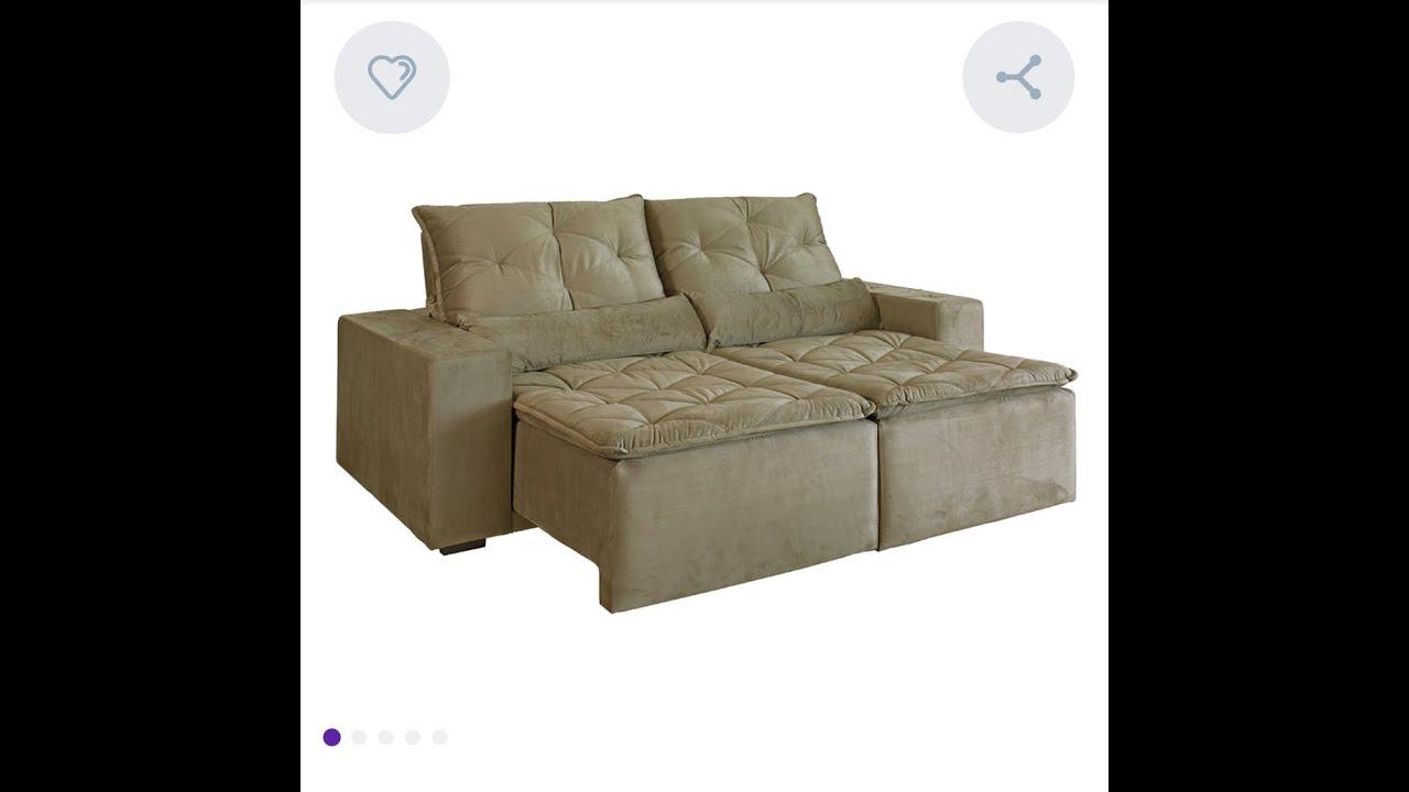 Sofa retratil 3 lugares e reclinavel Macae veludo. - YouTube