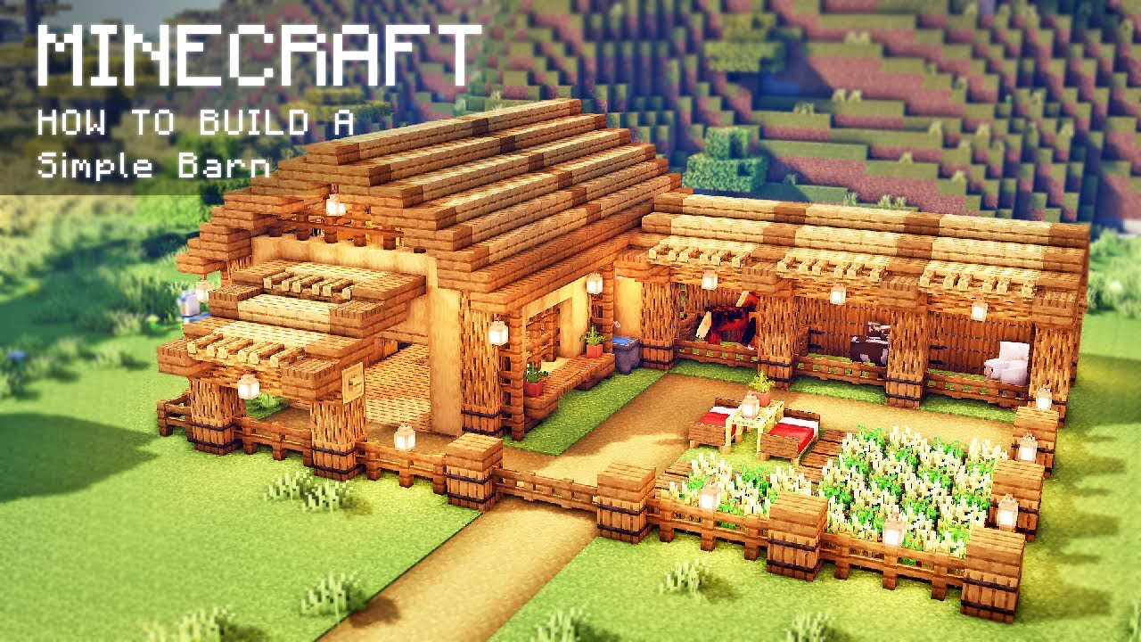 Minecraft: How To Build a Simple Barn for animals