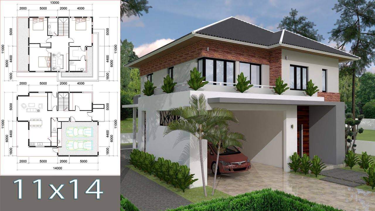 Sketchup Villa Design 11x14m Two Stories House with 3 ...