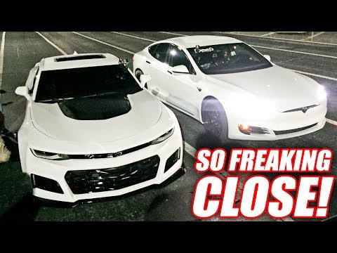 Incredibly CLOSE Race! Bald Eagle Camaro ZL1 vs. A Freakin TESLA!