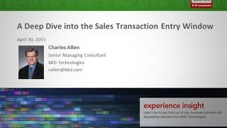 A Deep Dive into the Sales Transaction Entry Window