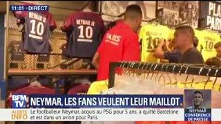 PSG : les supporters se ruent en boutique pour s'acheter le maillot de Neymar