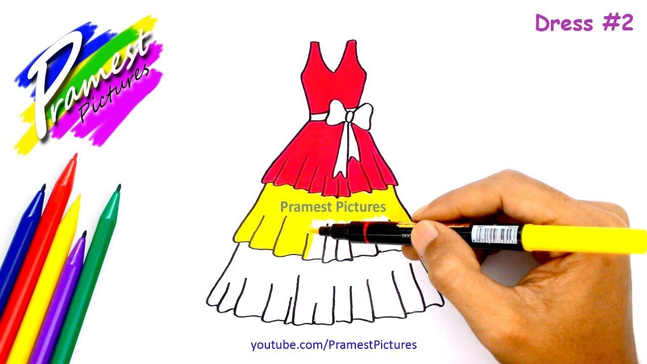 Belajar Menggambar Dan Mewarnai Gambar Dress Untuk Anak Anak Youtube