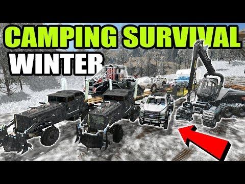 FARMING SIMULATOR 2017 | SURVIVAL CAMPING IN THE SNOW W/ NEW SEMI ,TANK & HUMVEE | MULTIPLAYER thumbnail