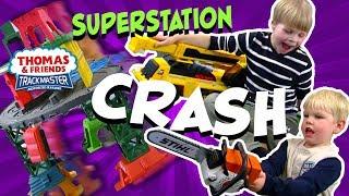SuperStation Crash on the TrainLab!  Thomas Tank & Friends   Toys train videos for kids   Train Lab