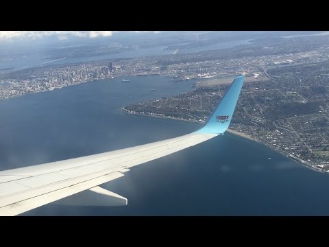 Flying - Landing Into Seattle-Tacoma International Airport Onboard Alaska Airlines 737-800
