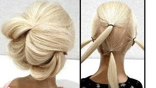 Быстрая Объемная вечерня прическа из резинок.Пошагово!Fast Volumetric Vespers hairdo. Step by step!