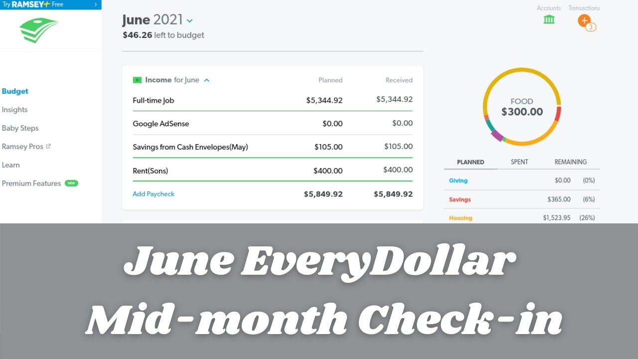 Budget with Me| June 2021-EveryDollar Mid-month Check-in| Debt: $23,255.04