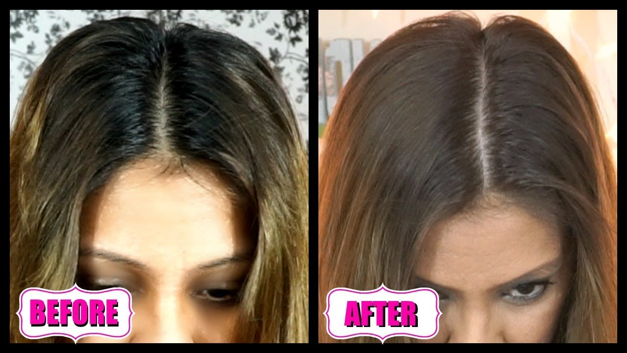 How To Lighten Dark Roots At Home From Black To Light Brown Diy Root Touch Up For Dark Hair