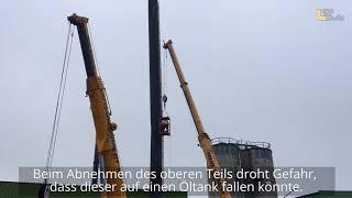 35 Meter hoher Schornstein droht in Lemgo nach Sturm einzustürzen