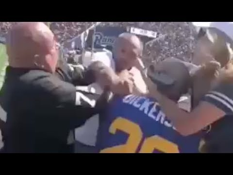 Rams Fan VIOLENTLY Tossed Over Railing During CRAZY Brawl With Raiders Fans!