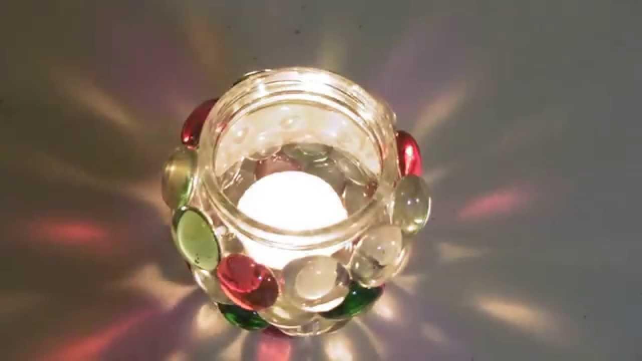Frasco de vidrio decorado con piedritas para usarlo para - Como decorar copas de cristal ...