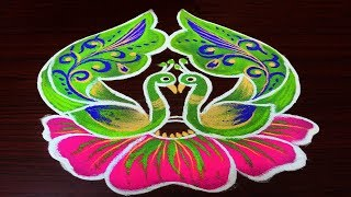 Beautiful Peacock Rangoli Designs || Simple Kolam Designs With 6 Dots || Creative Muggulu
