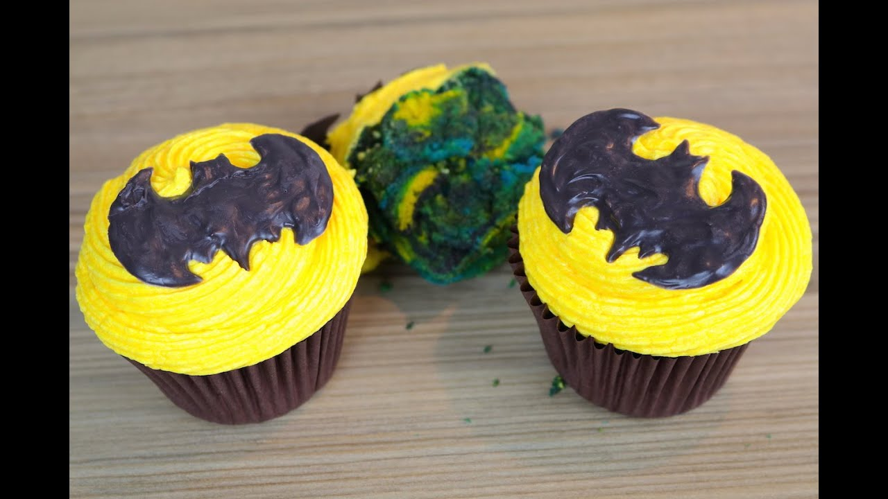 How To Make Batman Cupcakes Easy Marbled Cupcake Recipe
