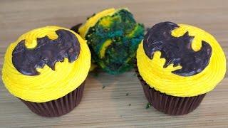 How To Make Batman Cupcakes  Easy Marbled Cupcake Recipe  CarlyToffle