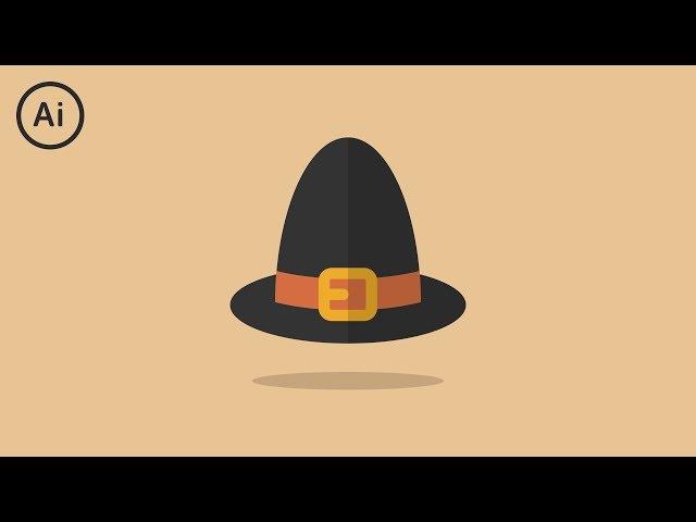Flat Design Thanksgiving Pilgrim Hat | Illustrator Tutorial