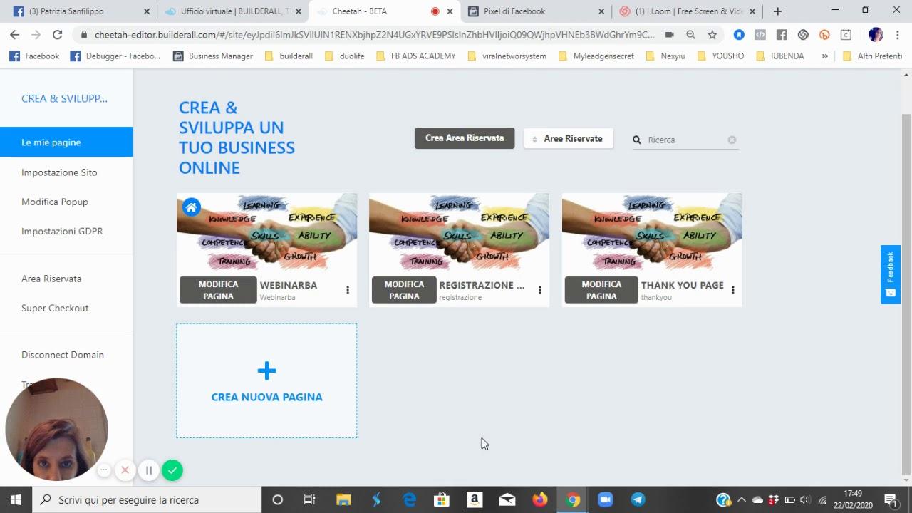 Builderall Digital Platform - Inserimento codici Pixel di Fb in Cheetah Builder (Funnel Webinar Mer)