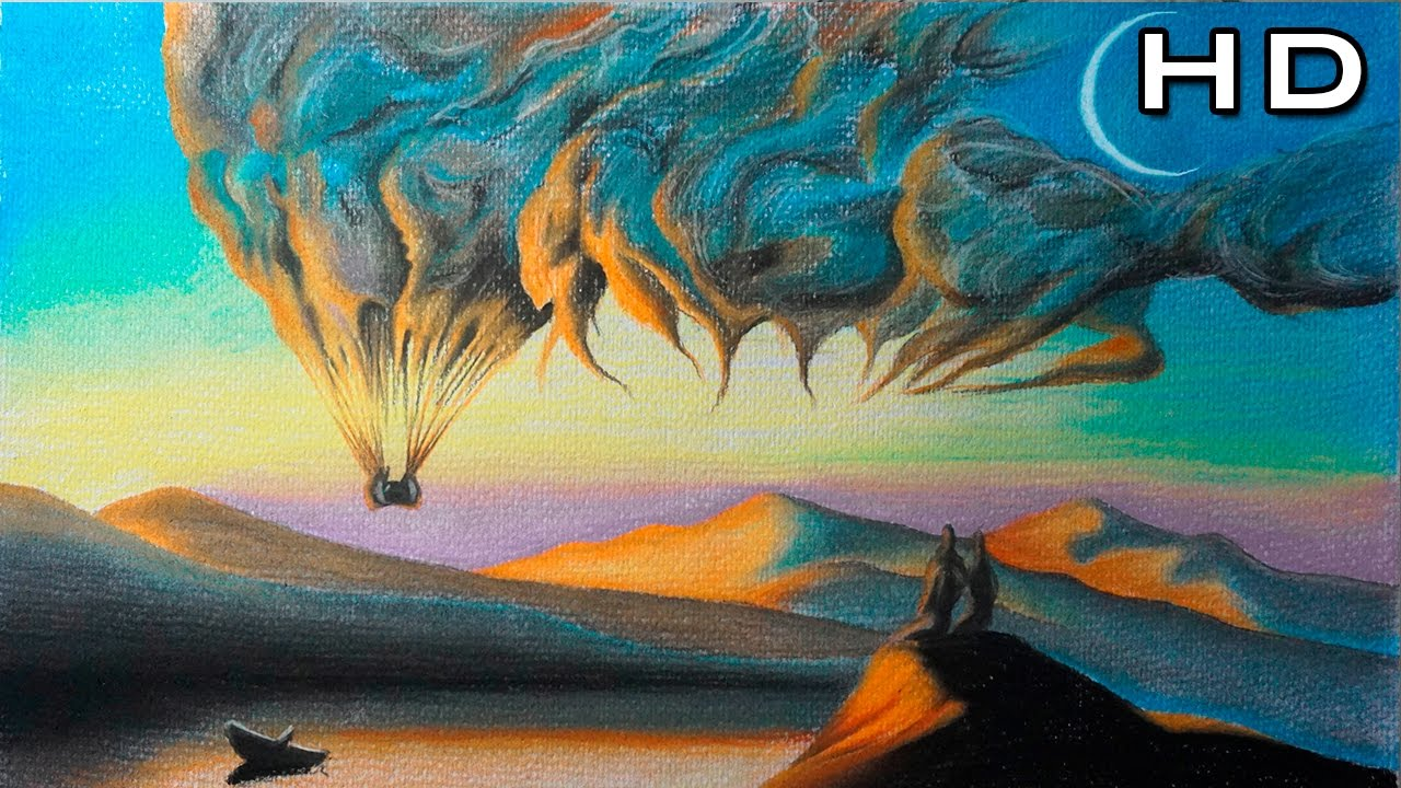 Dibujo de un hermoso paisaje surrealista con l pices - Los cuadros mas bonitos ...