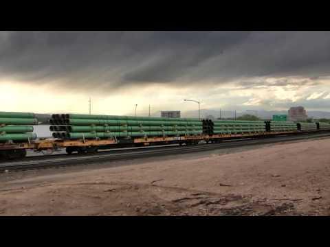 BNSF steel pipe train Denver, Colorado.
